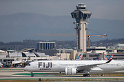 A Fiji Airways A350-900 taxis after landing at Los Angeles International Airport (LAX) on Saturday, February 29th, 2020 in Los Angeles. (Brandon Sloter/Image of Sport)