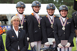Team Netherlands silver medal<br /> Chef d'equipe Tinneke Bartels, Lotte Meulendijks, Sanne Vos, Jelle Peeters, Rosalie Bos<br /> European Championship Poney - Fontainebleau 2012<br /> © Dirk Caremans