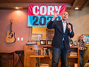 21 DECEMBER 2019 - SIOUX CENTER, IOWA: US Senator CORY BOOKER (D-NJ) speaks to the crowd during a meet and greet event at a coffee house in Sioux Center. Sen Booker is on a bus tour across Iowa to support his candidacy for the US Presidency. Iowa traditionally holds the first event of the presidential election cycle. The Iowa caucuses are Feb. 3, 2020.    PHOTO BY JACK KURTZ