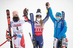 Second placed Michelle Gisin (SUI), winner Marta Bassino (ITA) and third placed Meta Hrovat (SLO)  celebrate during 2nd Run of Ladies' Giant Slalom at 57th Golden Fox event at Audi FIS Ski World Cup 2020/21, on January 17, 2021 in Podkoren, Kranjska Gora, Slovenia. Photo by Vid Ponikvar / Sportida