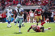 Dallas Cowboys wide receiver Terrance Williams (83) breaks a San Francisco 49ers tackle at Levis Stadium in Santa Clara, Calif., on October 2, 2016. (Stan Olszewski/Special to S.F. Examiner)