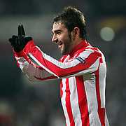 Atletico Madrid's Adrian Lopez celebrate his goal during their UEFA Europa League Round of 16, Second leg soccer match Besiktas between Atletico Madrid at Inonu stadium in Istanbul Turkey on Thursday March 15, 2012. Photo by TURKPIX