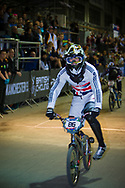 at the UCI BMX Supercross World Cup in Manchester, UK