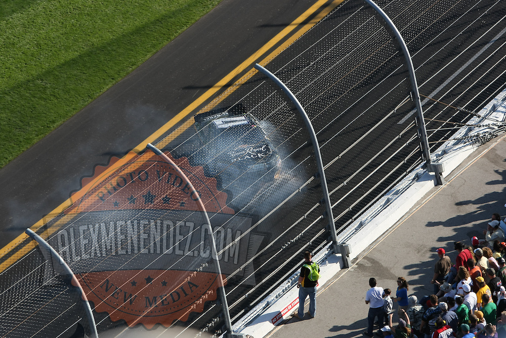 Sprint Cup Series driver Matt Kenseth (17) spins out at Daytona International Speedway on February 20, 2011 in Daytona Beach, Florida. (AP Photo/Alex Menendez)