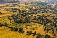 Aerial view, agricultural areas near Axum (Aksum), Ethiopia.