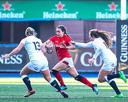 Jasmine Joyce of Wales under pressure from Zoe Harrison of England<br /> <br /> Photographer Simon King/Replay Images<br /> <br /> Six Nations Round 3 - Wales Women v England Women - Sunday 24th February 2019 - Cardiff Arms Park - Cardiff<br /> <br /> World Copyright © Replay Images . All rights reserved. info@replayimages.co.uk - http://replayimages.co.uk