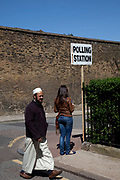 Outside a Polling Station in Wapping, Tower Hamlets, London. General Election day May 6th 2010.