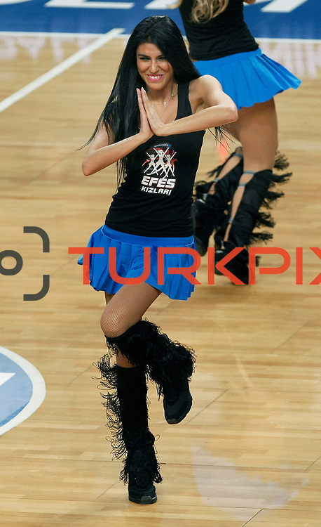 Anadolu Efes's show girls during their Turkish Basketball League match Anadolu Efes between Mersin BSB at Sinan Erdem Arena in Istanbul, Turkey, Saturday, January 14, 2012. Photo by TURKPIX