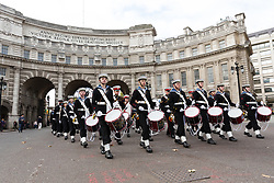 © Licensed to London News Pictures. 22/10/2017. LONDON, UK.  Four hundred sea cadets from across the UK march from Horse Guards Parade to Trafalgar Square to mark the 212th anniversary of the Battle of Trafalgar.  Photo credit: Vickie Flores/LNP