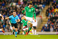Northern Ireland forward Josh Magennis on the ball during the UEFA European 2020 Qualifier match between Northern Ireland and Estonia at National Football Stadium, Windsor Park, Northern Ireland on 21 March 2019.