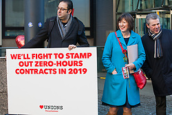 London, UK. 14th February, 2019. Frances O'Grady (General Secretary of the TUC), and Mark Serwotka (General Secretary of PCS) show solidarity on a Valentine's Day-themed picket line outside the Department of Business, Energy and Industrial Strategy (BEIS) with outsourced support staff taking strike action to demand the London Living Wage and an end to outsourcing.