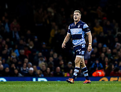 Gareth Anscombe of Cardiff Blues<br /> <br /> Photographer Simon King/Replay Images<br /> <br /> Guinness PRO14 Round 21 - Cardiff Blues v Ospreys - Saturday 27th April 2019 - Principality Stadium - Cardiff<br /> <br /> World Copyright © Replay Images . All rights reserved. info@replayimages.co.uk - http://replayimages.co.uk