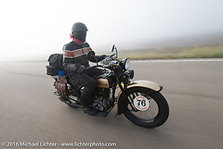 "Robert Gustavsson or ""Big Swede"" as he is fondly known, riding his 1931 Harley-Davidson VL through the fog during Stage 8 of the Motorcycle Cannonball Cross-Country Endurance Run, which on this day ran from Junction City, KS to Burlington, CO., USA. Saturday, September 13, 2014.  Photography ©2014 Michael Lichter."
