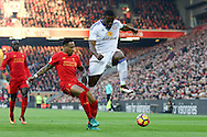 Victor Anichebe of Sunderland (r) looks to go past Nathaniel Clyne of Liverpool. Premier League match, Liverpool v Sunderland at the Anfield stadium in Liverpool, Merseyside on Saturday 26th November 2016.<br /> pic by Chris Stading, Andrew Orchard sports photography.