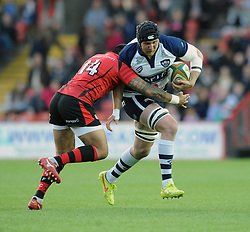 Bristol Rugby's Nick Koster is challenged by Jersey Rugby's Ed Dawson - Photo mandatory by-line: Dougie Allward/JMP - Mobile: 07966 386802 - 17/04/2015 - SPORT - Rugby - Bristol - Ashton Gate - Bristol Rugby v Jersey - Greene King IPA Championship