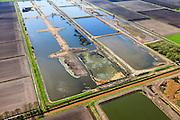 Nederland, Overijssel, Gemeente Hardenberg, 01-05-2013; vloeivelden De Krim, <br /> Voormalig spoelwaterbassin van de Aardappelmeelfabrief AVEBE (vroeger gebruikt voor afvalwaterzuivering).<br /> Water-meadow De Krim. Former sewage farm, now bird sanctuary.<br /> luchtfoto (toeslag op standard tarieven);<br /> aerial photo (additional fee required);<br /> copyright foto/photo Siebe Swart