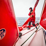 Leg 6 to Auckland, day 06 on board MAPFRE, Sophie Ciszek during a pilling. 12 February, 2018.