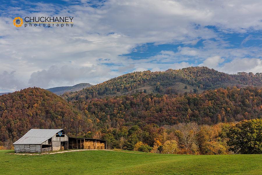 Hay barn in pasture in Randolph County, West Virginia, USA