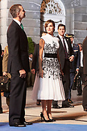 Queen Letizia of Spain leave to the Campoamor Theater for the Princess of Asturias Award 2017 ceremony on October 20, 2017 in Oviedo, Spain