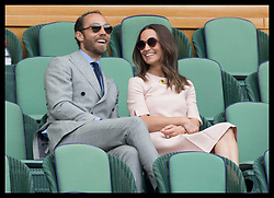 July 8, 2019 - London, London, United Kingdom - Image licensed to i-Images Picture Agency. 08/07/2019. London, United Kingdom. Pippa Middleton and her brother James in the Royal Box on day seven of the Wimbledon Tennis Championships in London. (Credit Image: © Stephen Lock/i-Images via ZUMA Press)
