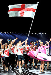 England's flag bearer Alistair Brownlee leads out his team during the Opening Ceremony for the 2018 Commonwealth Games at the Carrara Stadium in the Gold Coast, Australia.