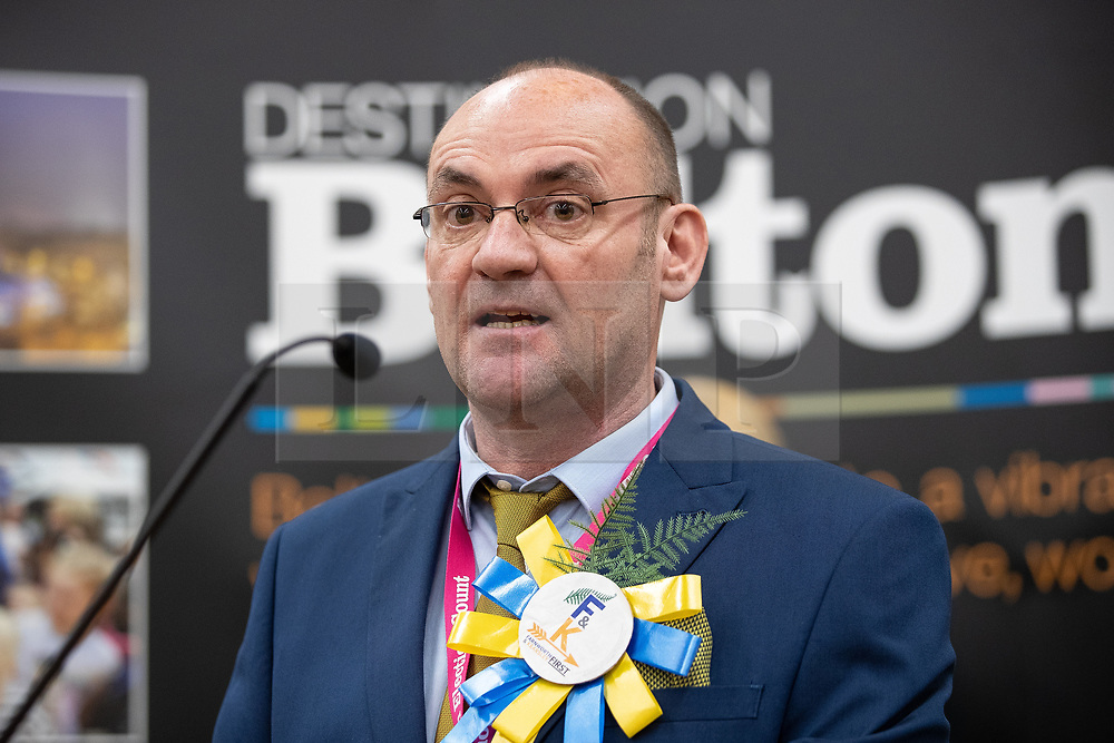 © Licensed to London News Pictures . 02/05/2019. Bolton, UK. Farnworth and Kearsley First independent candidate PAUL HESLOP wins Kearsley ward . The count for Bolton Council at Bolton Town Hall . The Labour Party are threatened to lose their majority on the council . Local council elections are taking place across the country . Photo credit: Joel Goodman/LNP