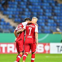 13.09.2020, Carl-Benz-Stadion, Mannheim, GER, DFB-Pokal, 1. Runde, SV Waldhof Mannheim vs. SC Freiburg, <br /> <br /> DFL REGULATIONS PROHIBIT ANY USE OF PHOTOGRAPHS AS IMAGE SEQUENCES AND/OR QUASI-VIDEO.<br /> <br /> im Bild: Freude bei Roland Sallai (SC Freiburg #22) und Jonathan Schmid (#7, SC Freiburg)<br /> <br /> Foto © nordphoto / Fabisch