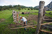 José Angel Galaviz, a rancher of Pima heritage living in the Sierra Mountains near Maycoba opens a corral at his home in the Mexican state of Sonora.  (Jose Angel Galaviz Carrillo is featured in the book What I Eat: Around the World in 80 Diets.) MODEL RELEASED.