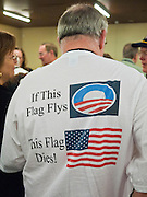 26 FEBRUARY 2011 - PHOENIX, AZ: A man with an anti-Obama tee shirt waits to get into the Tea Party Patriots Summit meeting in Phoenix Saturday morning. The Tea Party Patriots American Policy Summit goes through Sunday Feb. 27. About 2,000 people are attending the event, which organizers said is meant to unite Tea Party groups across the country. Speakers include former Minnesota Governor Tim Pawlenty, Texas Congressman Ron Paul, former Clinton advisor Dick Morris and conservative blogger Andrew Brietbart. The event ends with a presidential straw poll Sunday.   Photo by Jack Kurtz