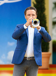 """14.06.2015, Europapark, Rust, GER, ARD TV Show, Immer wieder Sonntags, im Bild Stefan Mross mit Trompete // during the ARD TV Show """"Immer wieder Sonntags"""" at the Europapark in Rust, Germany on 2015/06/14. EXPA Pictures © 2015, PhotoCredit: EXPA/ Eibner-Pressefoto/ Goermer<br /> <br /> *****ATTENTION - OUT of GER*****"""