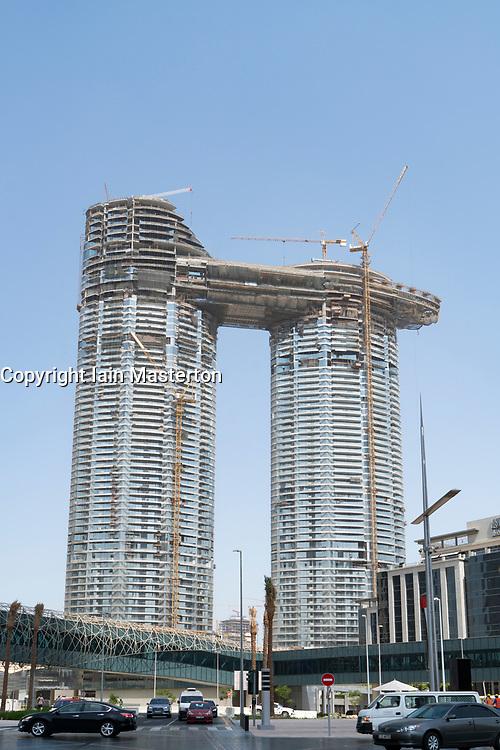 Construction of new high rise luxury apartment building at Downtown Dubai, UAE, United Arab Emirates