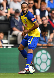 "Southampton's Nathan Redmond during a pre season friendly match at Pride Park, Derby. PRESS ASSOCIATION Photo. Picture date: Saturday July 21, 2018. Photo credit should read: Anthony Devlin/PA Wire. EDITORIAL USE ONLY No use with unauthorised audio, video, data, fixture lists, club/league logos or ""live"" services. Online in-match use limited to 75 images, no video emulation. No use in betting, games or single club/league/player publications."