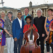 Photocall of Sadiq Khan,Sir Simon Rattle, Ian Robertson,Kathryn McDowell,KATE WHITLEY at the BMW Classics + live streamed on YouTube in Trafalgar Square on a hot weather in London, UK on July 1st 2018.