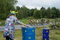 Chantal Blaak leads a break up the climb at the Crescent Vargarda - a 152 km road race, starting and finishing in Vargarda on August 13, 2017, in Vastra Gotaland, Sweden. (Photo by Sean Robinson/Velofocus.com)