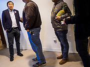 27 APRIL 2019 - STUART, IOWA: ANDREW YANG, candidate for the Democratic nomination for the US presidency, talks to individual voters after his speech at the Reaching Rural Voters Forum in Stuart. The forum was an outreach by Democrats in Iowa's 3rd Congressional District to mobilize Democratic voters statewide. Iowa saw one of the largest shifts from Democrats to Republicans in the 2016 Presidential election and Trump won the state by double digits. Republicans control the governor's office and both chambers of the Iowa legislature. Iowa traditionally hosts the the first selection event of the presidential election cycle. The Iowa Caucuses will be on Feb. 3, 2020.      PHOTO BY JACK KURTZ