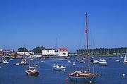 AREJGF Boats moored on River Deben, Woodbridge, Suffolk, England