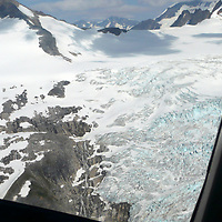 North America, United States, Alaska. Helicopter flightseeing over glacier ice fields, Juneau.