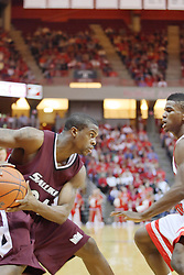 05 January 2008:  Wesley Clemmons and Osiris Eldridge study each others eyes to predict where the other is going. The Redbirds of Illinois State took the bite out of the Salukis of Southern Illinois winning the Conference home opener for the 'birds on Doug Collins Court in Redbird Arena in Normal Illinois by a score of 56-47.