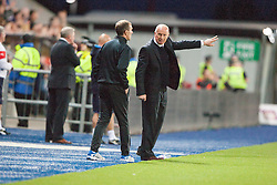 Falkirk's manager Peter Houston. Falkirk 0 v 2 Rangers, Scottish Championship game played 15/8/2014 at The Falkirk Stadium.