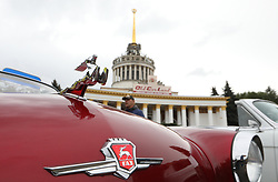 September 29, 2018 - Kyiv, Ukraine - The leaping deer hood ornament of a vintage GAZ car is captured at the OldCarLand Festival, Ukraine's largest technical festival, at the National Complex Expocentre of Ukraine (VDNG), Kyiv, capital of Ukraine, September 29, 2018. Ukrinform. (Credit Image: © Danil Shamkin/Ukrinform via ZUMA Wire)