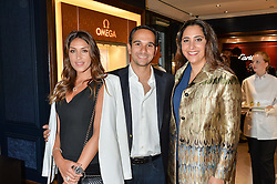 Left to right, ZEENA ZAHAWI, SAAD KURDI and ZEIN KURDI at a party to celebrate the opening of Mappin & Webb's Flagship Regent Street Boutique at 132 Regent Street, London on 28th June 2016.