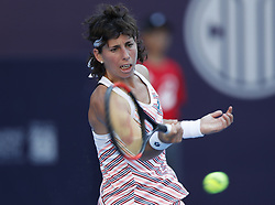 BEIJING , Oct. 2, 2018  Carla Suarez Navarro of Spain hits a return during the women's singles second round match against Angelique Kerber of Germany at China Open tennis tournament in Beijing, China, Oct. 2, 2018. Carla Suarez Navarro lost 0-2. (Credit Image: © Jia Haocheng/Xinhua via ZUMA Wire)