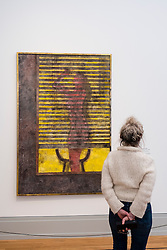 Visitor looking at painting Rear Window by Rufino Tamayo,     at new Museum Barberini in Potsdam Germany