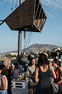 The Kalsa, almost circular creek in the port area of Palermo is now a tourist harbor close to  the commercial one as well as a place for walking, jogging and aperitifs
