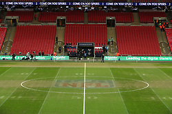 NFL markings still visible on the pitch before the Premier League match between Tottenham Hotspur and Manchester City at Wembley Stadium, London.