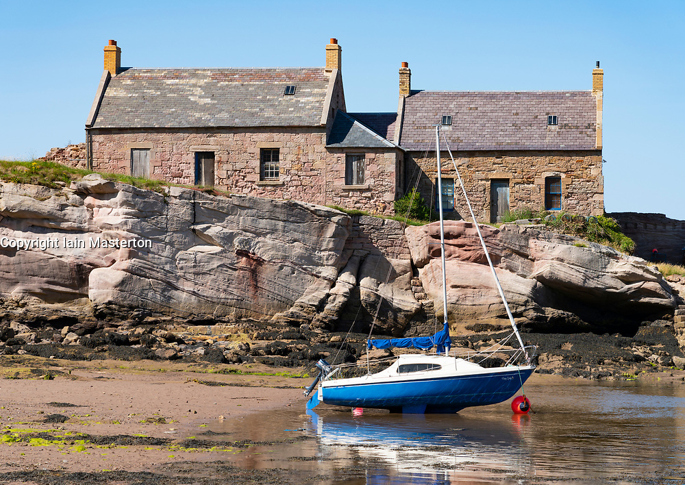 View of cottages at historic harbour at Cove near Cockburnspath in Berwickshire , Scottish Borders, Scotland ,UK - Editorial Use Only _