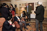 V.S. NAIPAUL;,; NANDANA SEN;  GILLON AITKEN Aatish Taseer  book launch party for his new book Stranger To History. Travel book asks what it means to be a Muslim in the 21st century. Hosted by Gillon Aitken. Kensington, London. 30 March 2009