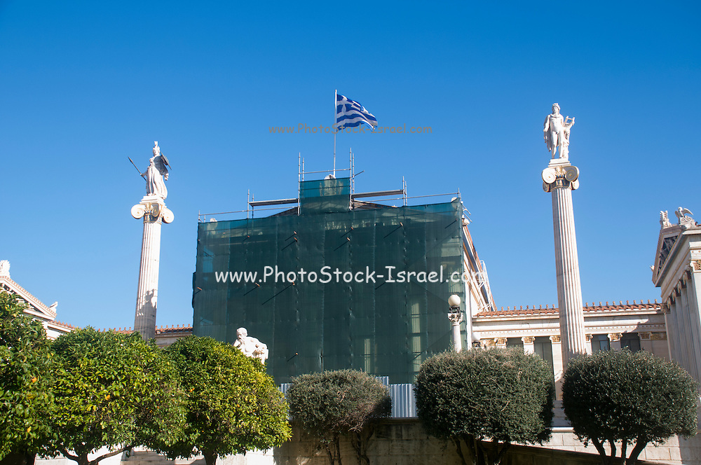 Statues of Apollo and Athena at the Academy of Athens, part of the architectural trilogy designed by Danish architect Theopil Hansen, Athens, Greece