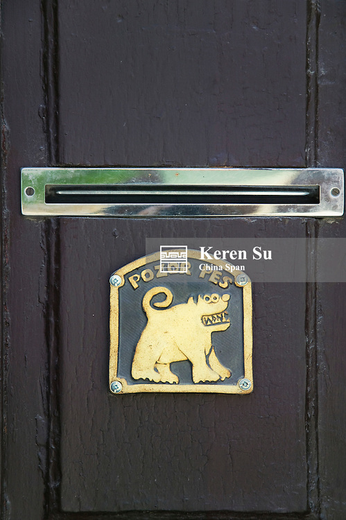 Mail slot on people's door, Telc, Moravia, Czech Republic