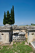 Picture of a Tomb A6  and Sarcophagus of the North Necropolis. Hierapolis archaeological site near Pamukkale in Turkey. .<br /> <br /> If you prefer to buy from our ALAMY PHOTO LIBRARY  Collection visit : https://www.alamy.com/portfolio/paul-williams-funkystock/pamukkale-hierapolis-turkey.html<br /> <br /> Visit our TURKEY PHOTO COLLECTIONS for more photos to download or buy as wall art prints https://funkystock.photoshelter.com/gallery-collection/3f-Pictures-of-Turkey-Turkey-Photos-Images-Fotos/C0000U.hJWkZxAbg
